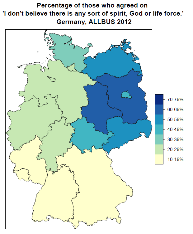 http://datagraphsandplots.wordpress.com/2014/02/18/how-atheist-is-germany-allbus-2012-percentages-per-land/