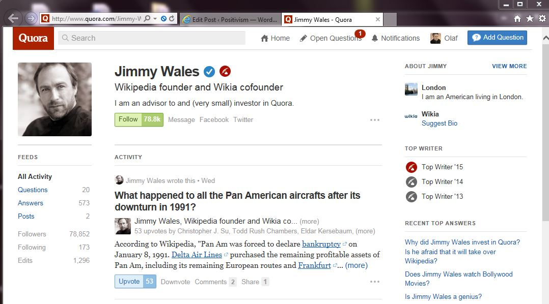 Jimmy Wales Quora screenshot