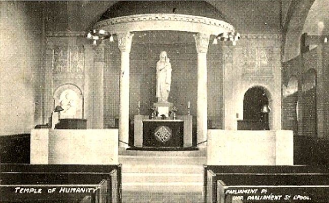 Liverpool c 1910s Postcard - Interior, Temple of Humanity, Upper Parliament Street