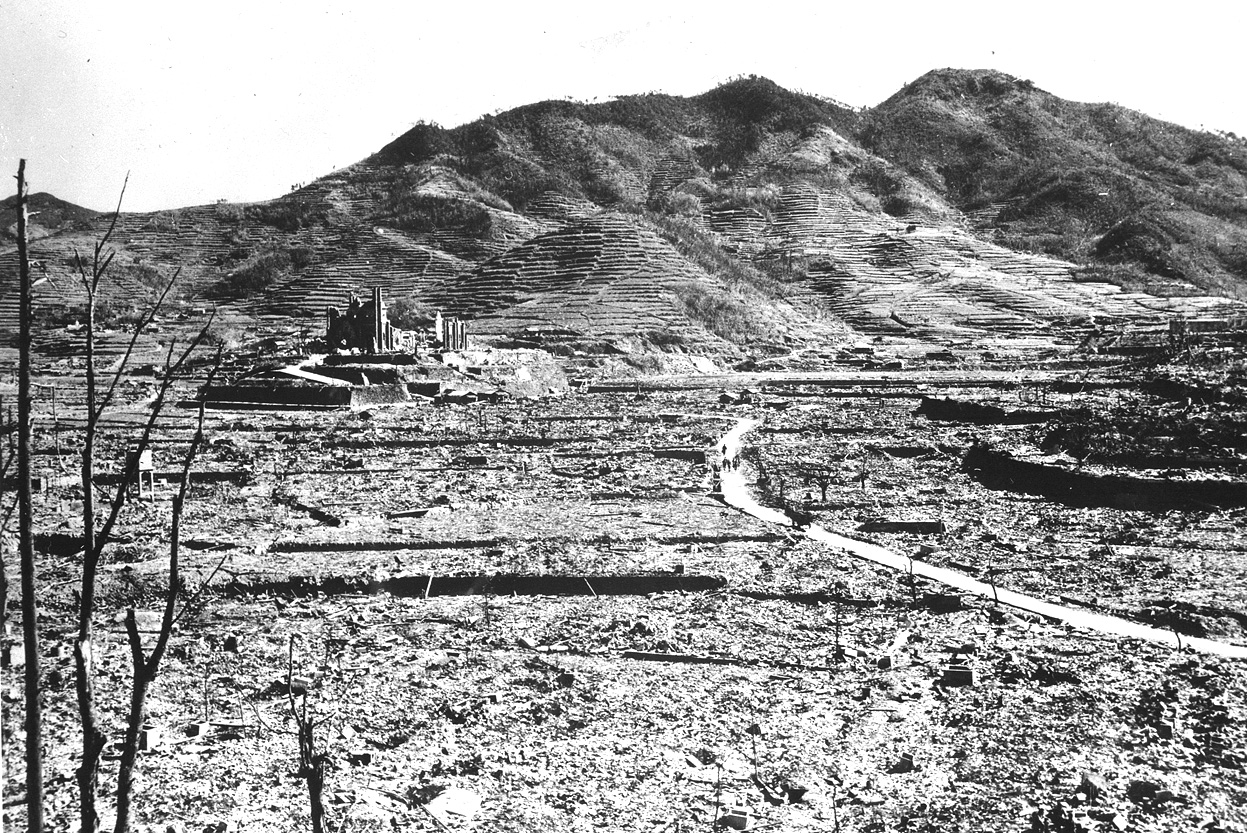 The only recognizable structure remaining is a ruined Roman Catholic Cathedral in background on a destroyed hill, in Nagasaki, Japan in 1945. (NARA)