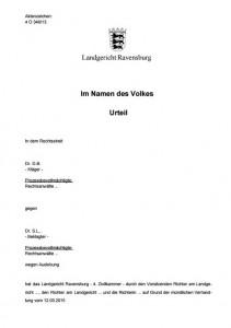 Landgericht Ravensburg, erstes Urteil im Masernprozess 12. 3. 2015