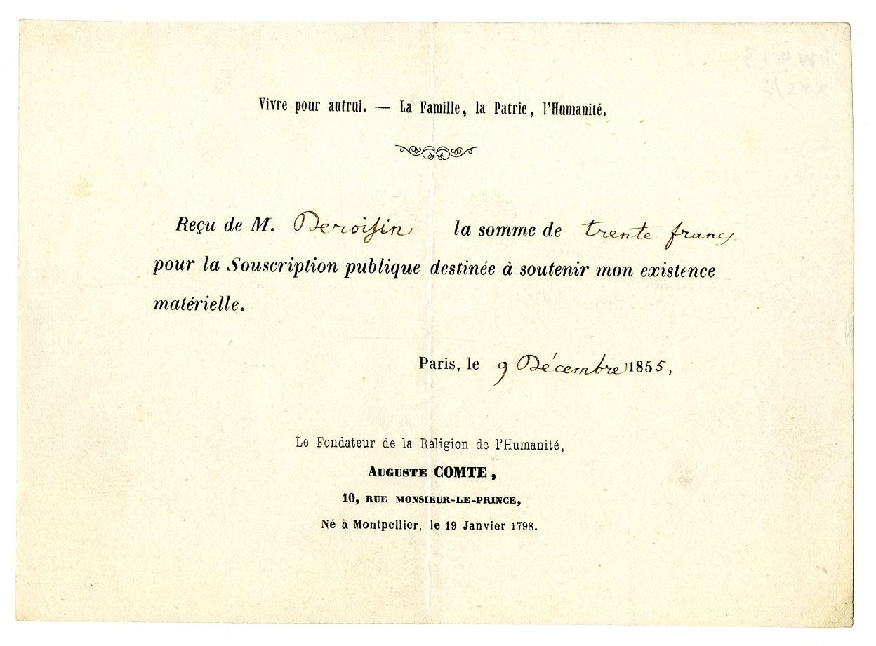 Printed receipt for money sent towards the end of Comte's life 'pour la Souscription publique destinée à soutenir mon existence matérielle'.