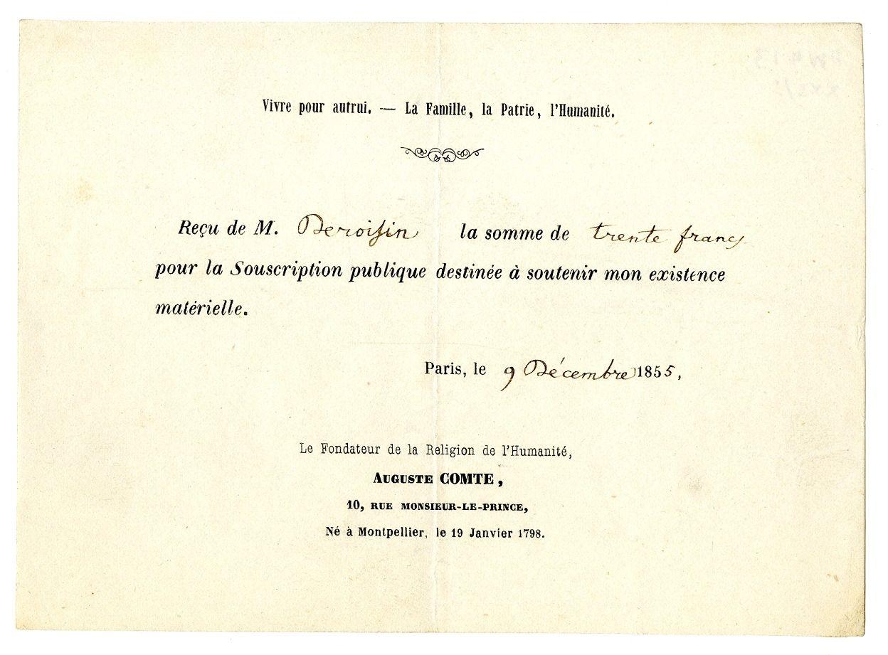 Printed receipt for money sent towards the end of Comte's life 'pour la Souscription publique destinée à soutenir mon existence matérielle'.