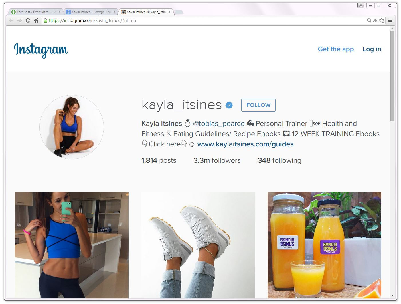 kayla_itsines, Verified, Instagram account. 1,814 posts, 3.3m followers and no Wikipedia article