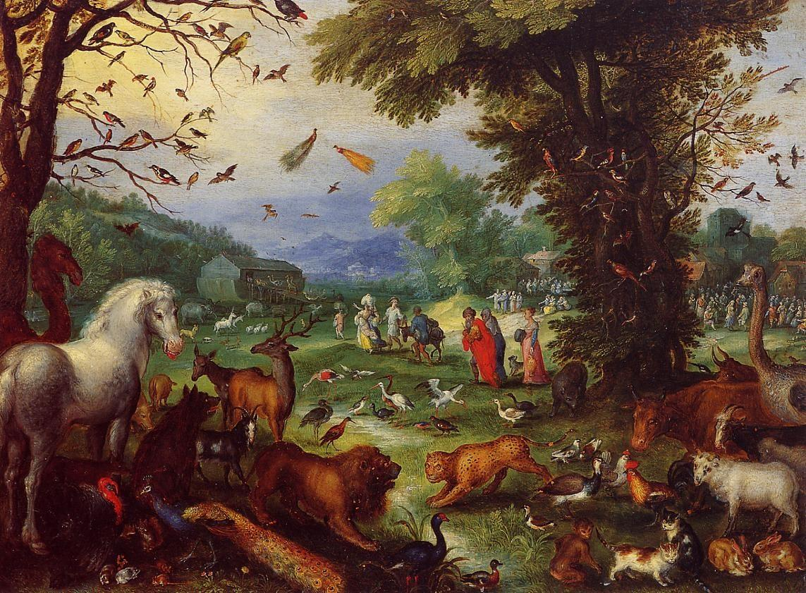 Jan Brueghel the elder, Landscape of Paradise and the Loading of the Animals in Noah's Ark (1596)