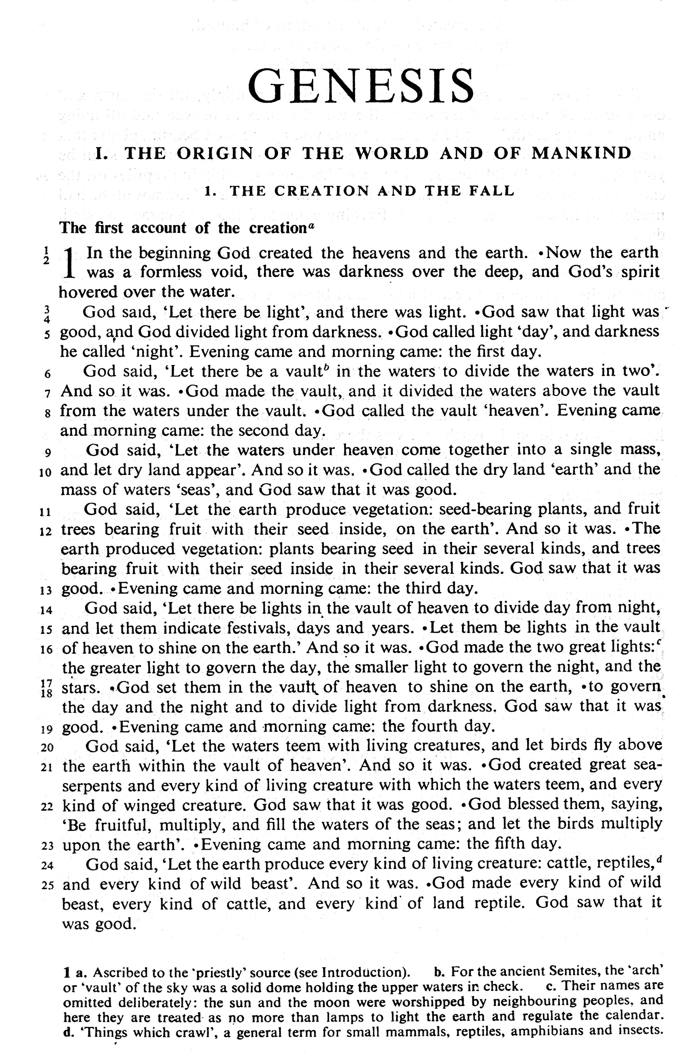 Jerusalem Bible, Popular Edition , (1966) p.5 Genesis 1