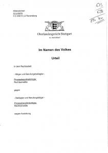 Oberlandesgericht Stuttgart, zweites Urteil im Masernprozess, 16. 2. 2016